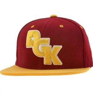 DGK Stagger Snapback Cap (burgundy / yellow)