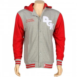 DGK Stagger Varsity Hooded Fleece Jacket (red)