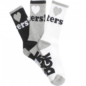 DGK Haters 7 Crew Socks 3 Pack (athletic heather / white / black) 1S