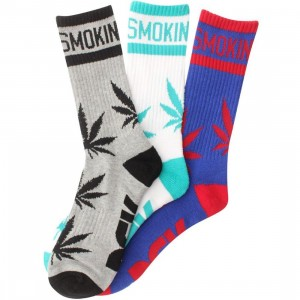 DGK Stay Smokin' 3 Crew Socks 3 Pack (athletic heather / white / royal) 1S