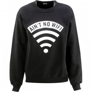 Dimepiece Women Aint No Wifi Crewneck Sweater (black)