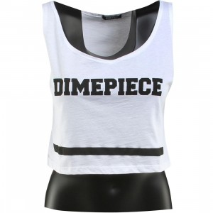Dimepiece Women Varsity Crop Tank Top (white / black)