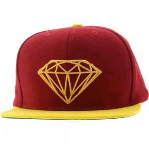 Diamond Supply Co Brilliant Snapback Cap (burgundy / yellow)