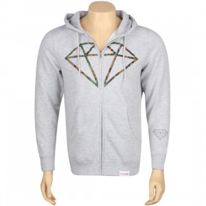 Diamond Supply Co Camo Rock Logo Zip Up Hoody (heather)