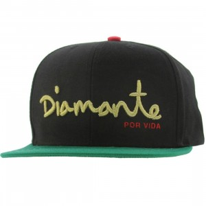 Diamond Supply Co Diamante 6 Panel Snapback Cap (black / green)