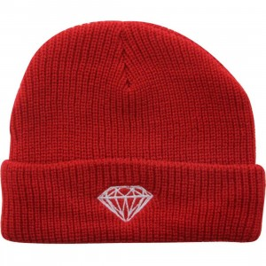 Diamond Supply Co Brilliant Fold Beanie (red)