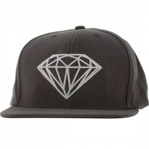 Diamond Supply Co Brilliant Leather Back Buckle Adjustable Cap (grey / white)