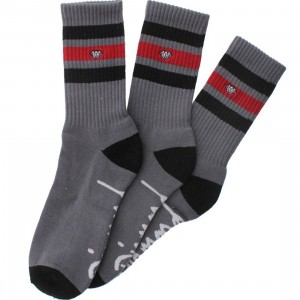 Diamond Supply Co 3 Pack High Stripe Socks (grey / black / red) 1S