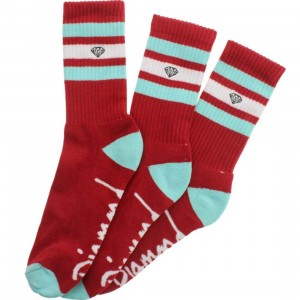 Diamond Supply Co 3 Pack High Stripe Socks (red / diamond blue / white) 1S