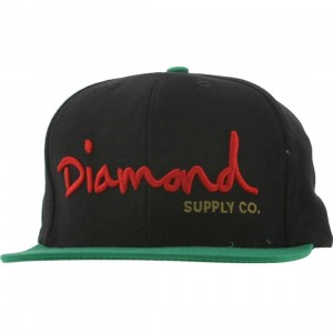 Diamond Supply Co OG Logo Snapback Cap (black / green / red)