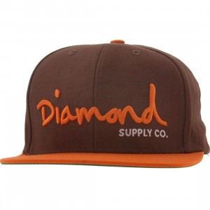Diamond Supply Co OG Logo Snapback Cap (brown / orange)