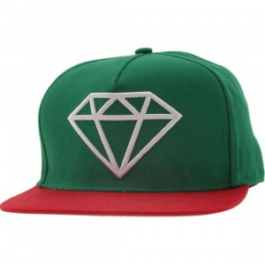 Diamond Supply Co Rock Snapback Cap (green / red / white)