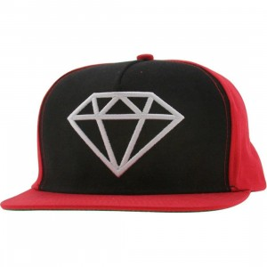 Diamond Supply Co Rock Snapback Cap (red / black / white)