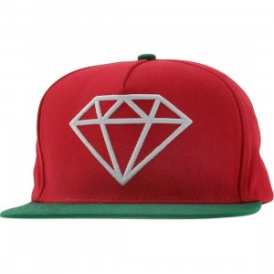 Diamond Supply Co Rock Snapback Cap (red / green / white)
