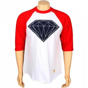 Diamond Supply Co Big Brilliant Raglan Tee (white / red)