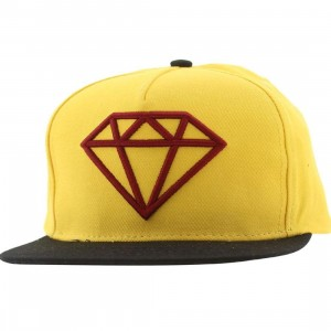 Diamond Supply Co Rock Logo Snapback Cap (yellow / red / black)