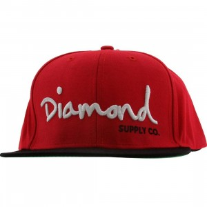Diamond Supply Co OG Logo Snapback Cap (red / black / white)