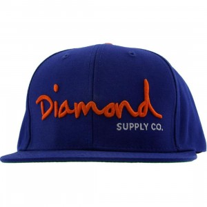 Diamond Supply Co OG Logo Snapback Cap (royal / orange / white)
