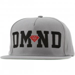 Diamond Supply Co DMND Snapback Cap (grey / black / red)