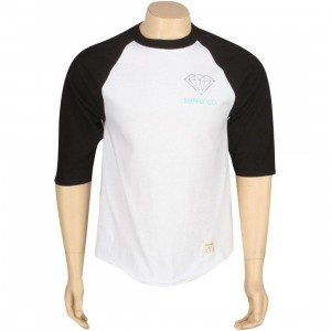 Diamond Supply Co Logo Raglan Tee (black / white)