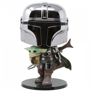 Funko POP Star Wars Mandalorian 10 Inch Chrome Mandalorian With The Child Figure (silver)