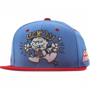 Gold Punch Starter Snapback Cap (carolina blue / red)