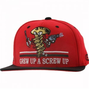 Gold Screw Up Starter Snapback Cap (red / black)