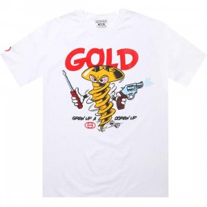 Gold Screw Up Tee (white)
