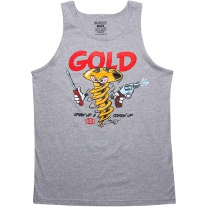 Gold Screw Up Tank Top (athletic heather)