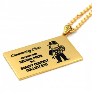 Han Cholo x Monopoly Double Sided Chance Vermeil 14K 24 Inch Necklace (gold / vermeil)