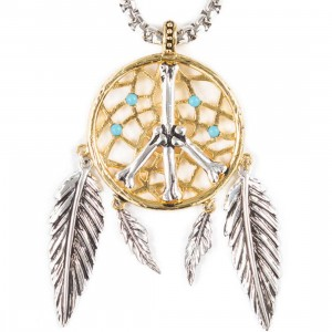 Han Cholo Dream Catcher Pendant Necklace - 2 Tone Gold and Silver (gold / silver)