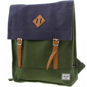 Herschel Supply Co Survey Backpack (green / dark army / coated cotton canvas / indigo denim)