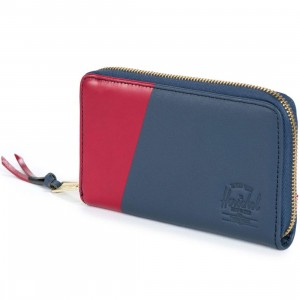 Herschel Supply Co Thomas Leather Wallet (navy / red)