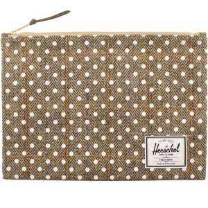Herschel Supply Co Network XL Pouch (tan / harris tweed white polka)