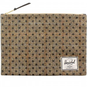 Herschel Supply Co Network XL Pouch (tan / harris tweed black polka)
