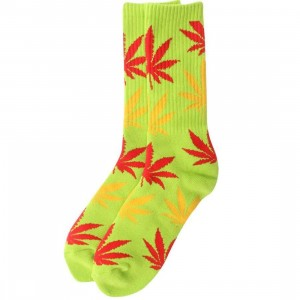 HUF Plantlife Crew Socks (lime / red) 1S