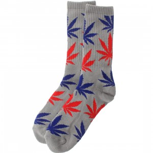 HUF Plantlife Crew Socks (grey / red / blue) 1S