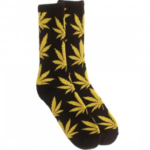 HUF Plantlife Crew Socks (black / yellow) 1S