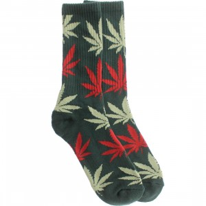 HUF Plantlife Crew Socks (green / forest / pink / light green) 1S