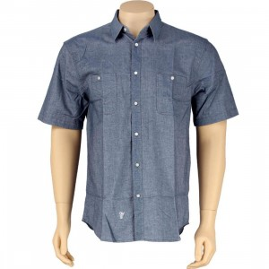 HUF Pinpoint Oxford Short Sleeve Shirt (navy)