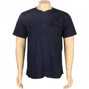 HUF Twill Baseball Short Sleeve Shirt (navy)