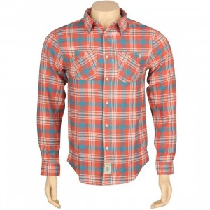 HUF Groundwork Flannel Long Sleeve Shirt (coral)