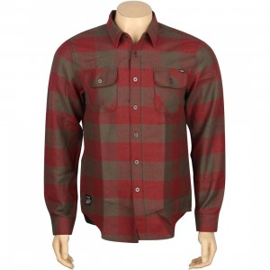 HUF Thompson Buffalo Flannel Long Sleeve Shirt (dusty olive / maroon)