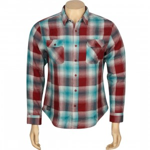 HUF Shadow Plaid Flannel Long Sleeve Shirt (red / maroon / jade)