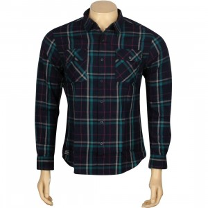 HUF Nichols Woven Long Sleeve Shirt (navy)
