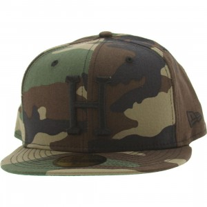 HUF Classic H New Era Fitted Cap (woodland camo)