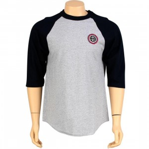 HUF Shifty H Softball Raglan Tee (athletic heather / navy)