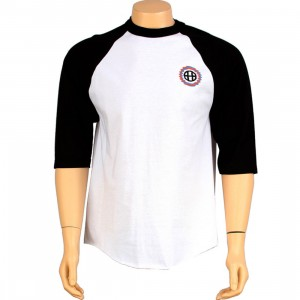 HUF Shifty H Softball Raglan Tee (white / black)