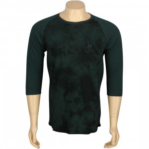HUF Crystal Wash Raglan Script Tee (green / forest)