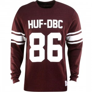 HUF Wrecking Long Sleeve Football Jersey Crewneck (burgundy / wine heather)